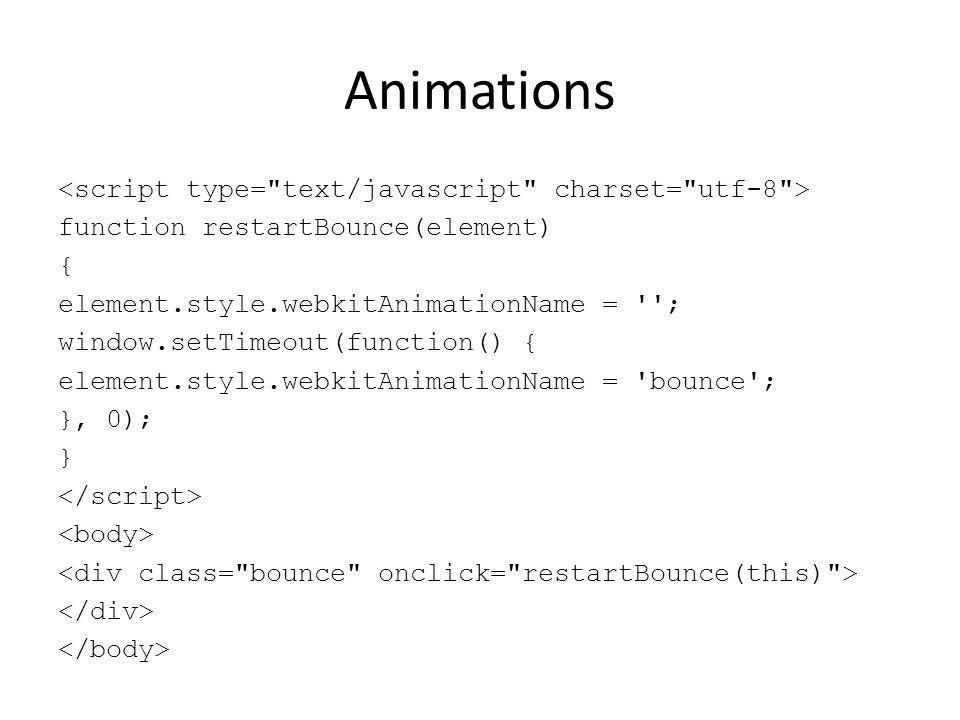 Animations function restartBounce(element) { element.style.webkitAnimationName = ''; window.setTimeout(function() { element.style.webkitAnimationName