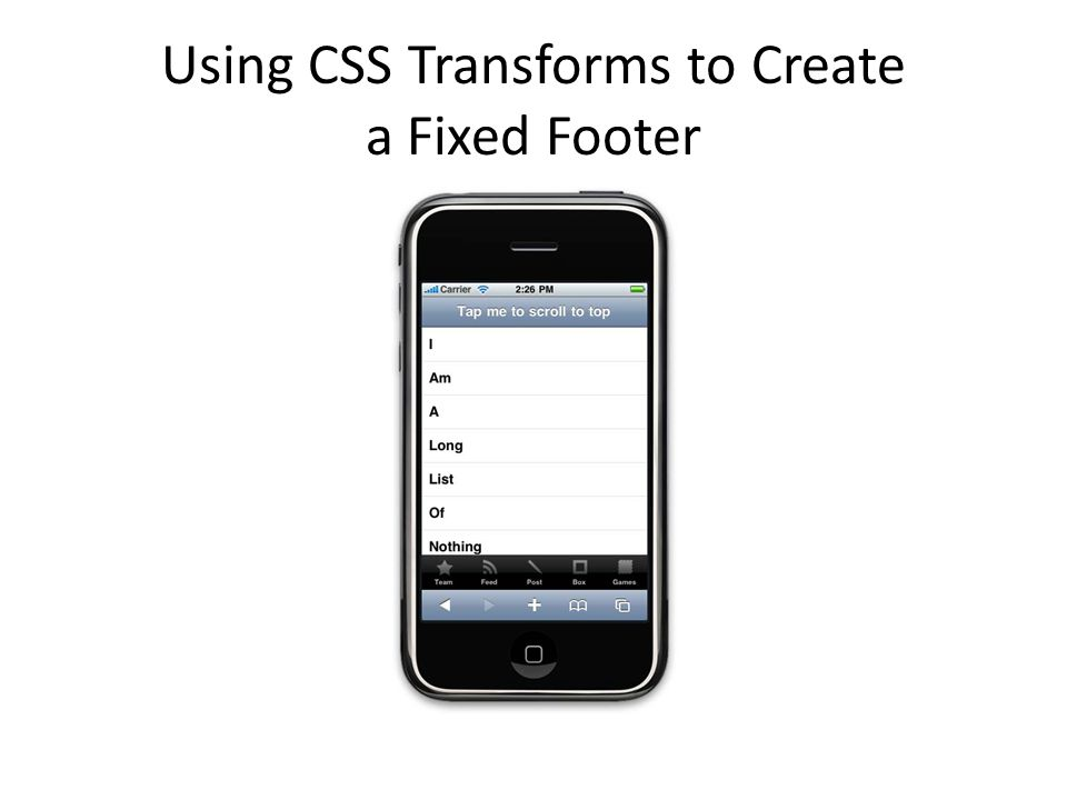 Using CSS Transforms to Create a Fixed Footer