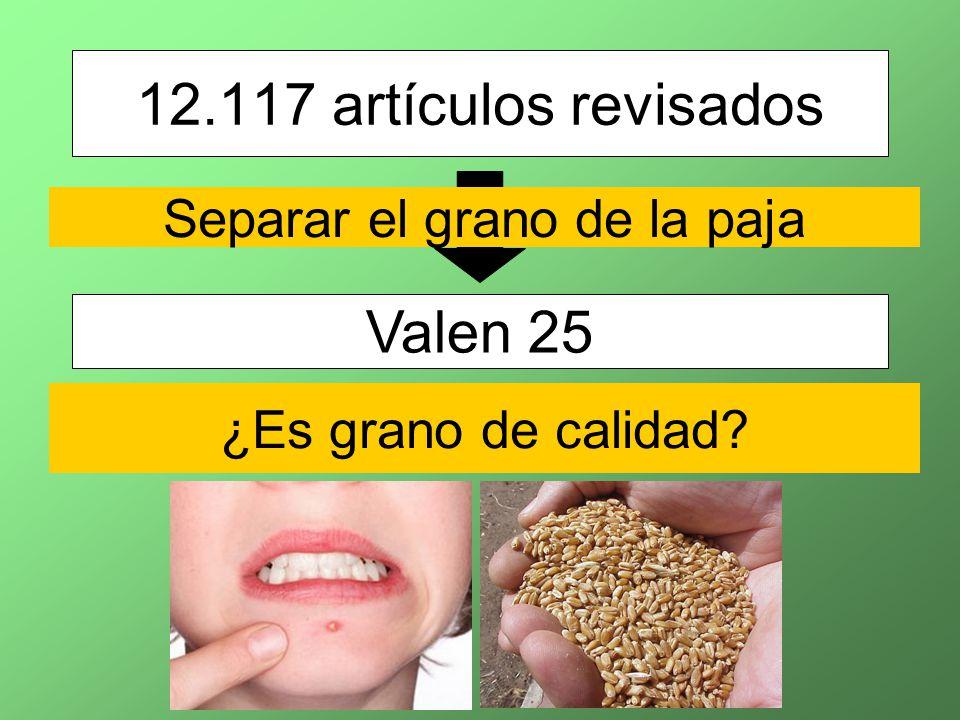 12.117 artículos revisados Valen 25 Separar el grano de la paja ¿Es grano de calidad?