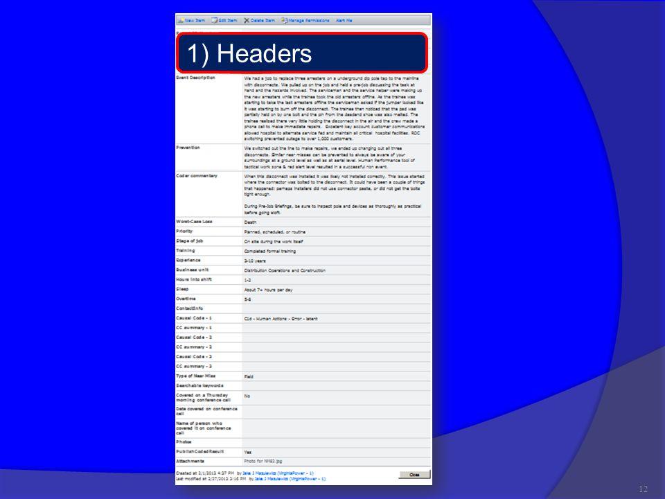 12 1) Headers