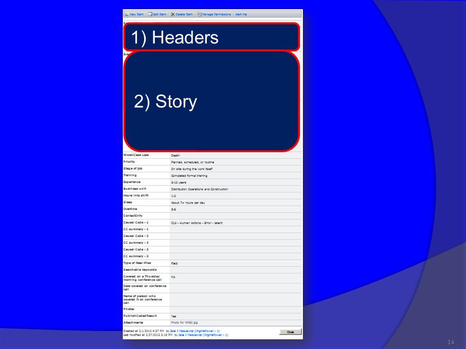 14 1) Headers 2) Story