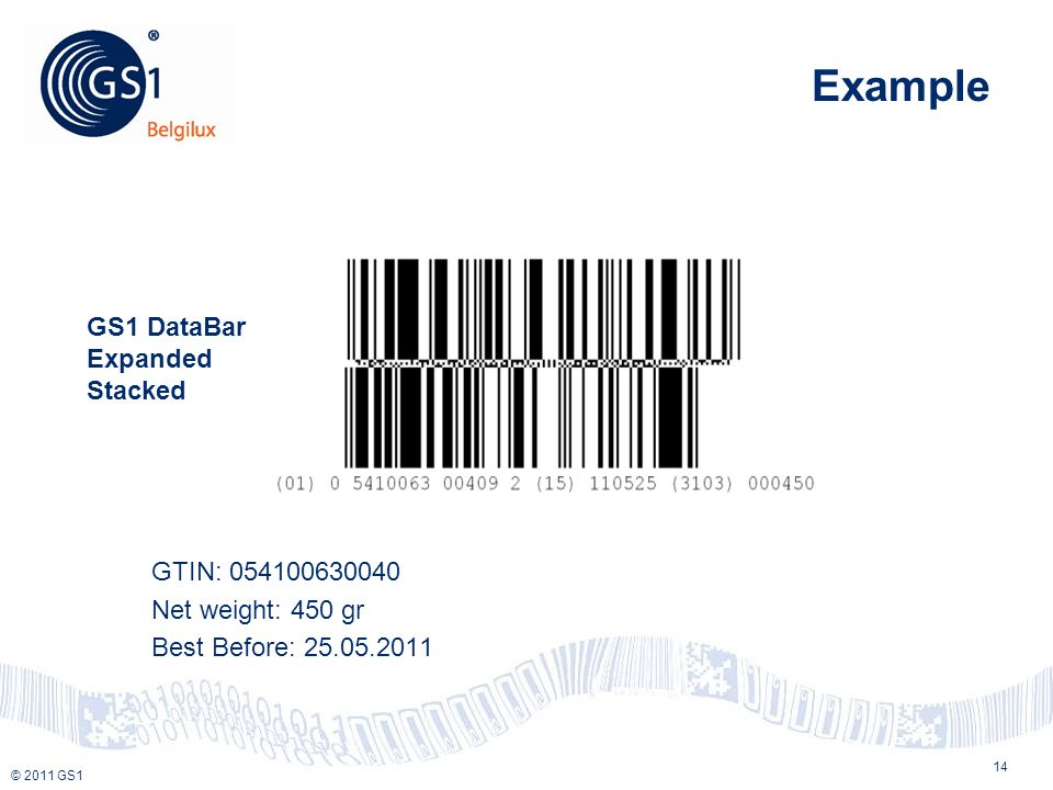© 2010 GS1 © 2011 GS1 Example GTIN: 054100630040 Net weight: 450 gr Best Before: 25.05.2011 14 GS1 DataBar Expanded Stacked
