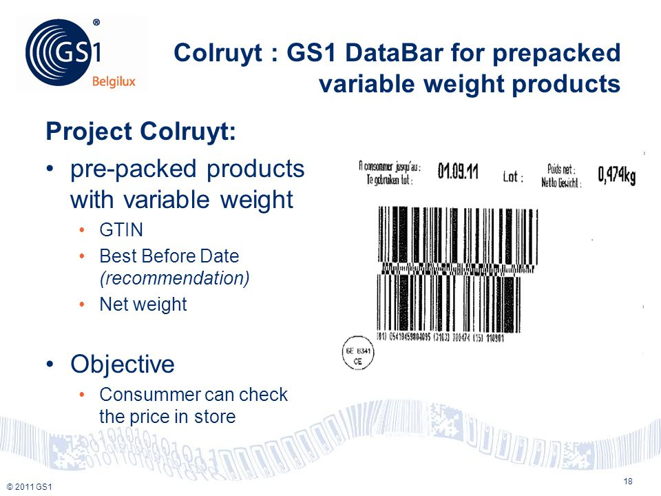 © 2010 GS1 © 2011 GS1 Colruyt : GS1 DataBar for prepacked variable weight products Project Colruyt: pre-packed products with variable weight GTIN Best