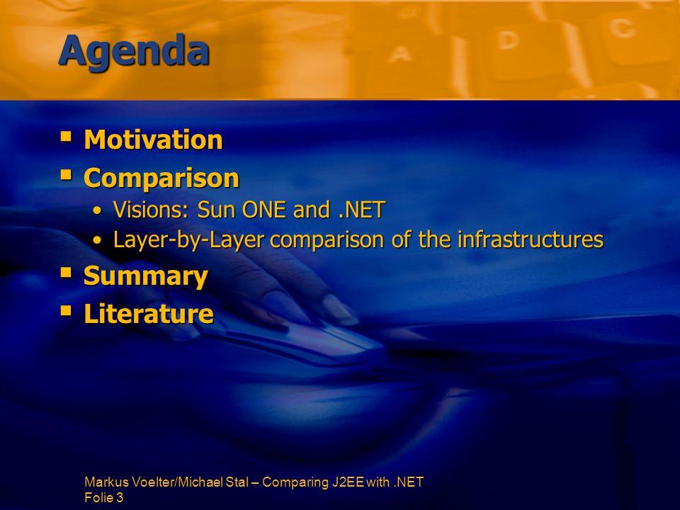 Markus Voelter/Michael Stal – Comparing J2EE with.NET Folie 84 Enterprise APIs  Naming: JNDI in Java (as an interface to CORBANaming, LDAP,...)JNDI in Java (as an interface to CORBANaming, LDAP,...) Active Directory in.NET (Windows-specific)Active Directory in.NET (Windows-specific)  Message-orientierte Middleware: JMS in JavaJMS in Java JAXM is on the horizon (XML based messaging)JAXM is on the horizon (XML based messaging).NET can use MSMQ, and remoting can be used asynchronously.NET can use MSMQ, and remoting can be used asynchronously