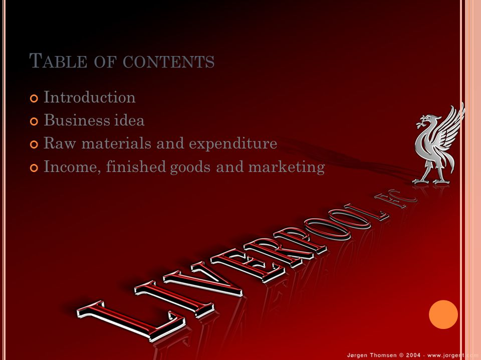 T ABLE OF CONTENTS Introduction Business idea Raw materials and expenditure Income, finished goods and marketing