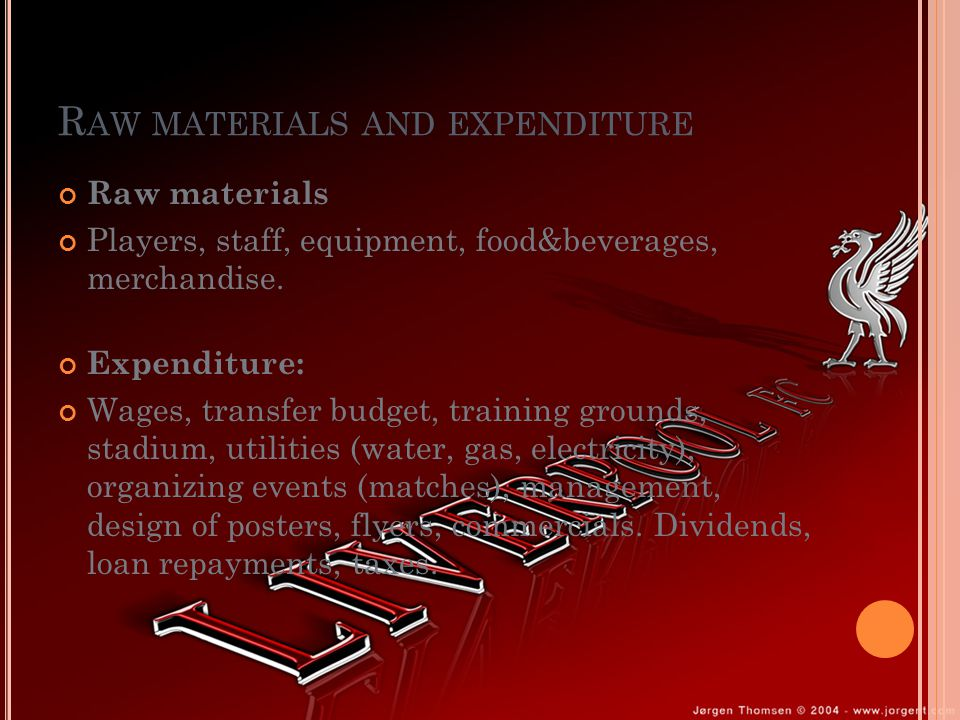 R AW MATERIALS AND EXPENDITURE Raw materials Players, staff, equipment, food&beverages, merchandise.