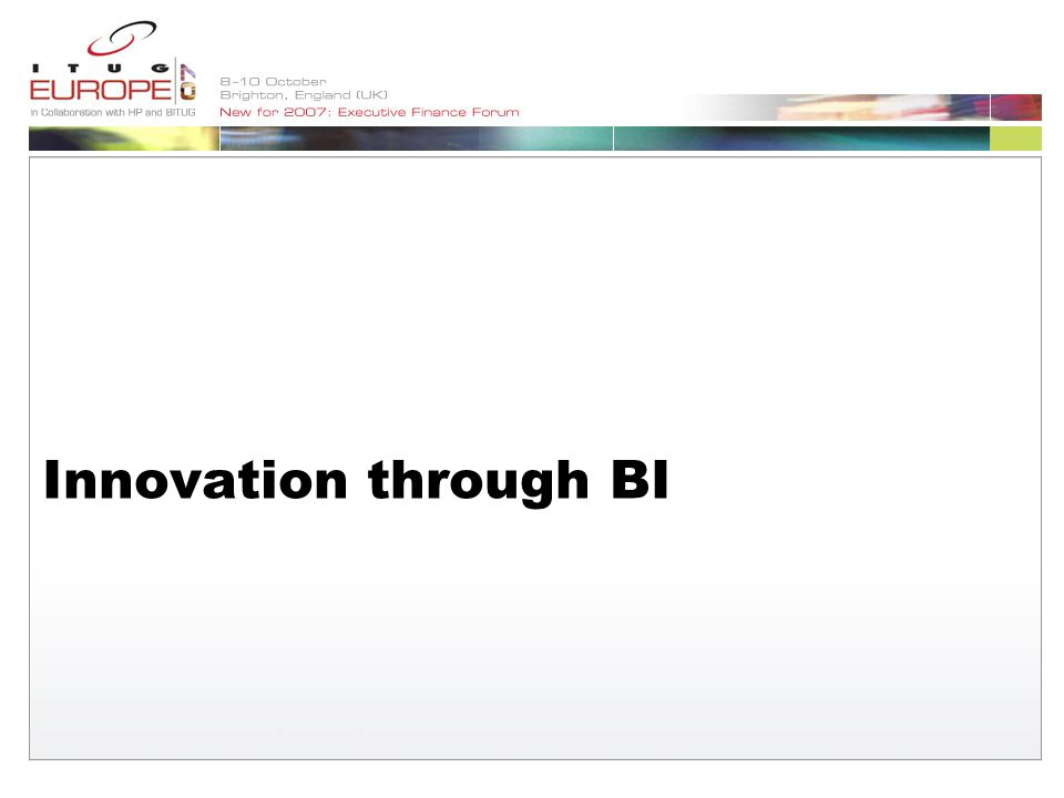 Innovation through BI