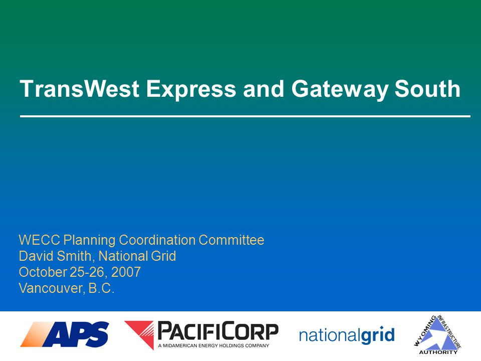 2 APS National Grid PacifiCorp Wyoming Infrastructure Authority Overview