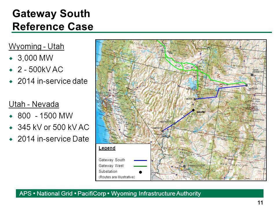 11 APS National Grid PacifiCorp Wyoming Infrastructure Authority Gateway South Reference Case Legend Gateway South Gateway West Substation (Routes are Illustrative) Wyoming - Utah  3,000 MW  2 - 500kV AC  2014 in-service date Utah - Nevada  800 - 1500 MW  345 kV or 500 kV AC  2014 in-service Date