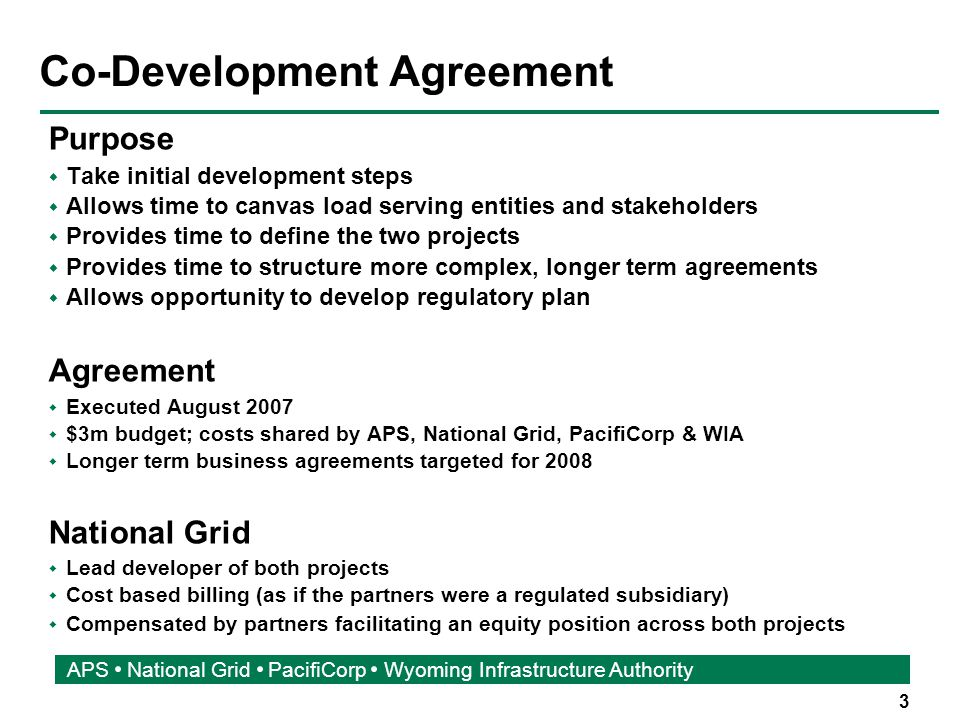 4 APS National Grid PacifiCorp Wyoming Infrastructure Authority What is Co-Development.