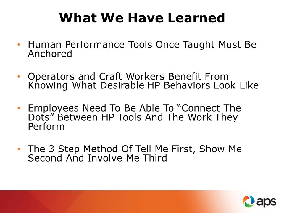 What We Have Learned Human Performance Tools Once Taught Must Be Anchored Operators and Craft Workers Benefit From Knowing What Desirable HP Behaviors Look Like Employees Need To Be Able To Connect The Dots Between HP Tools And The Work They Perform The 3 Step Method Of Tell Me First, Show Me Second And Involve Me Third