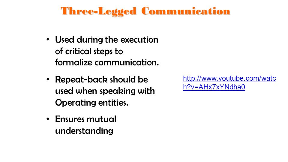 Used during the execution of critical steps to formalize communication. Repeat-back should be used when speaking with Operating entities. Ensures mutu