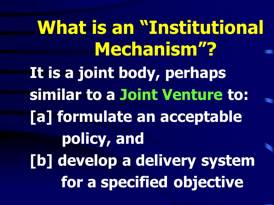 What is an Institutional Mechanism .