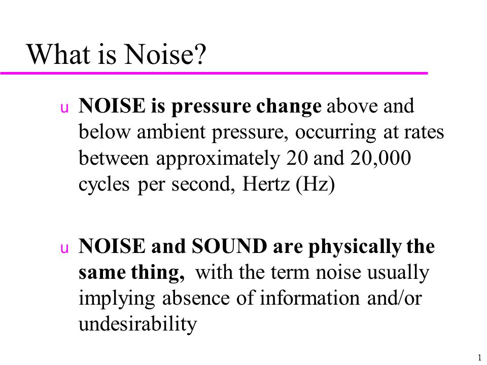 1 What is Noise.