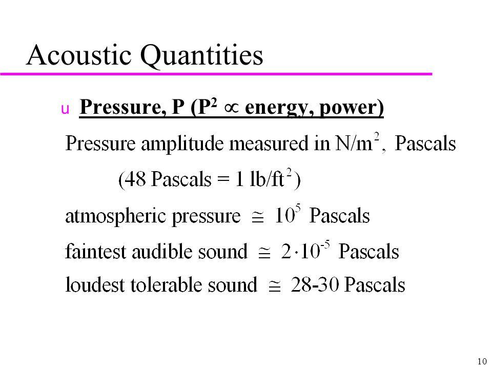 10 Acoustic Quantities u Pressure, P (P 2  energy, power)