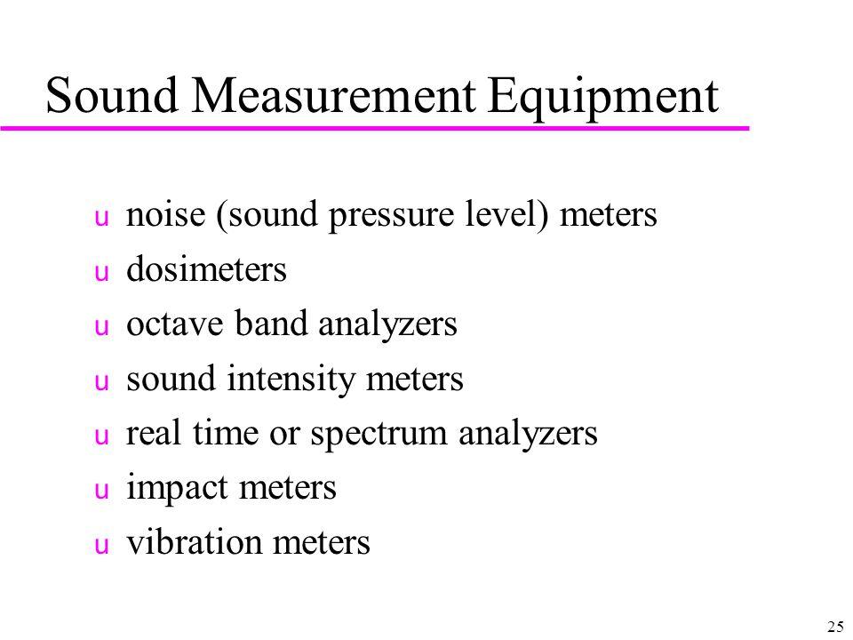 25 Sound Measurement Equipment u noise (sound pressure level) meters u dosimeters u octave band analyzers u sound intensity meters u real time or spec