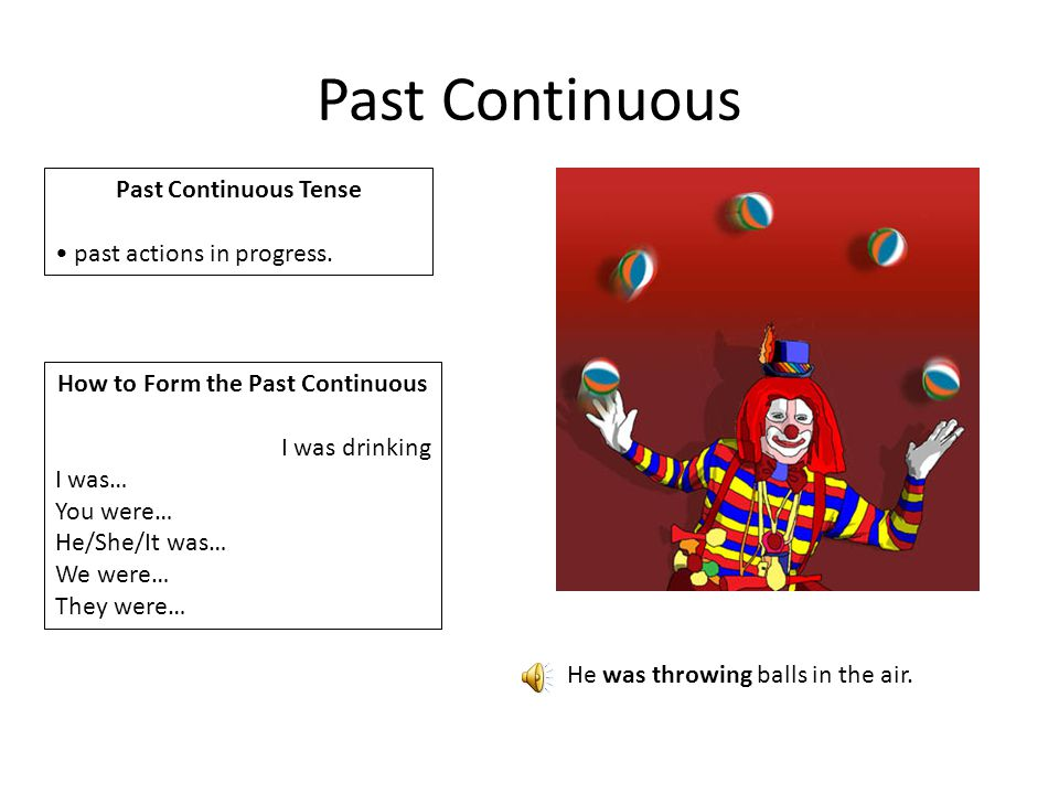 Past Continuous Past Continuous Tense past actions in progress.