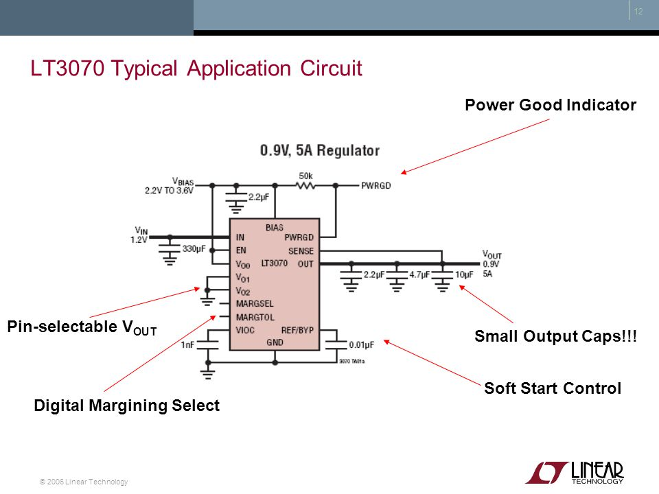 © 2006 Linear Technology 12 LT3070 Typical Application Circuit Pin-selectable V OUT Digital Margining Select Soft Start Control Small Output Caps!!! P
