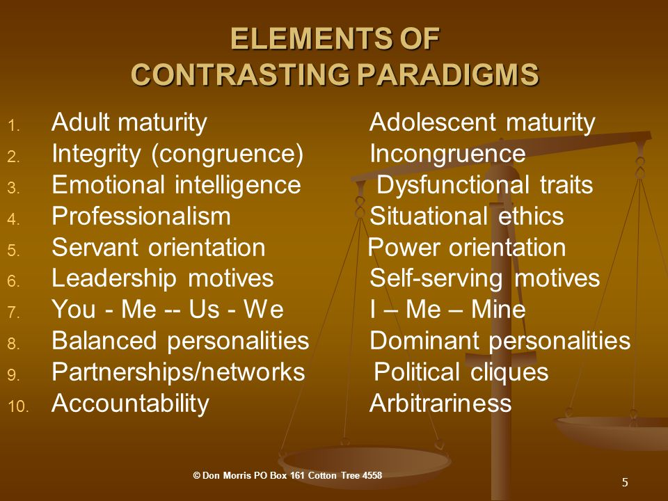 5 ELEMENTS OF CONTRASTING PARADIGMS 1. 1. Adult maturity Adolescent maturity 2.