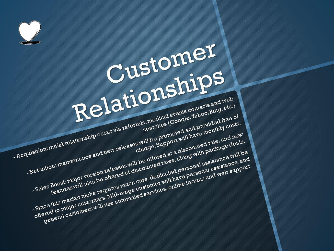 Customer Relationships - Acquisition: initial relationship occur via referrals, medical events contacts and web searches (Google, Yahoo, Bing, etc.) - Retention: maintenance and new releases will be promoted and provided free of charge.