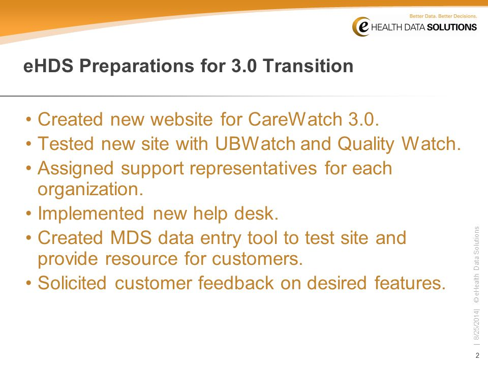 22 | 8/25/2014| © eHealth Data Solutions eHDS Preparations for 3.0 Transition Created new website for CareWatch 3.0.