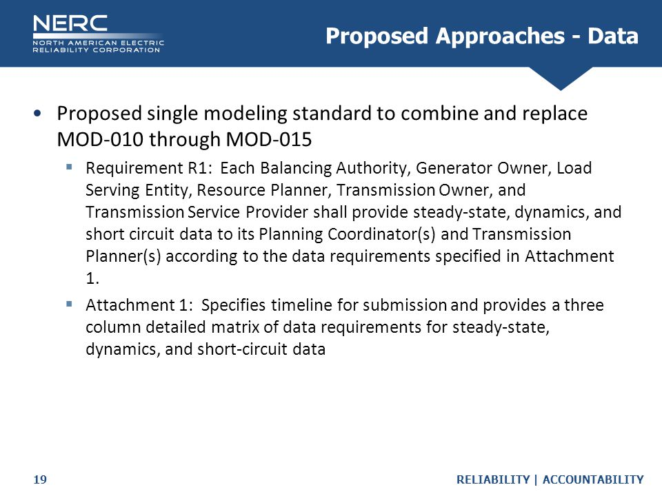 RELIABILITY | ACCOUNTABILITY19 Proposed single modeling standard to combine and replace MOD-010 through MOD-015  Requirement R1: Each Balancing Authority, Generator Owner, Load Serving Entity, Resource Planner, Transmission Owner, and Transmission Service Provider shall provide steady-state, dynamics, and short circuit data to its Planning Coordinator(s) and Transmission Planner(s) according to the data requirements specified in Attachment 1.