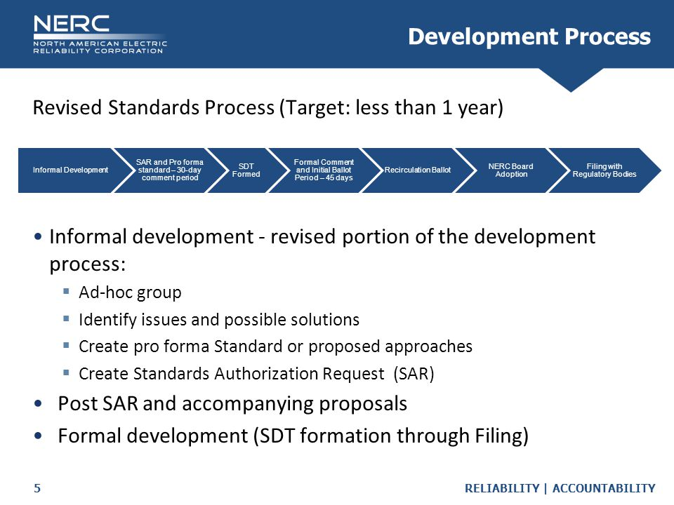 RELIABILITY | ACCOUNTABILITY5 Revised Standards Process (Target: less than 1 year) Informal development - revised portion of the development process:  Ad-hoc group  Identify issues and possible solutions  Create pro forma Standard or proposed approaches  Create Standards Authorization Request (SAR) Post SAR and accompanying proposals Formal development (SDT formation through Filing) Development Process Informal Development SAR and Pro forma standard – 30-day comment period SDT Formed Formal Comment and Initial Ballot Period – 45 days Recirculation Ballot NERC Board Adoption Filing with Regulatory Bodies