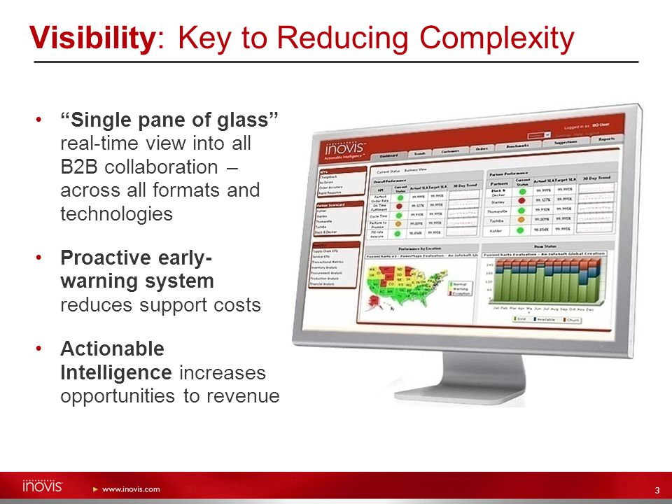 "3 Visibility: Key to Reducing Complexity ""Single pane of glass"" real-time view into all B2B collaboration – across all formats and technologies Proact"