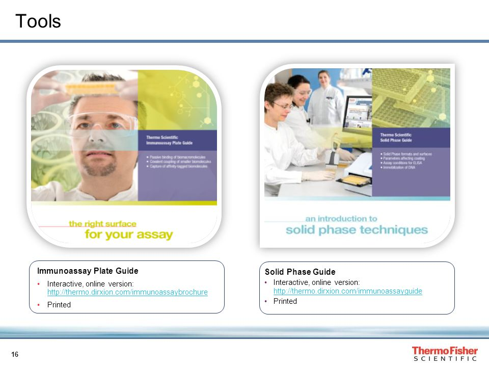 16 Tools Solid Phase Guide Interactive, online version:     Printed Immunoassay Plate Guide Interactive, online version:     Printed