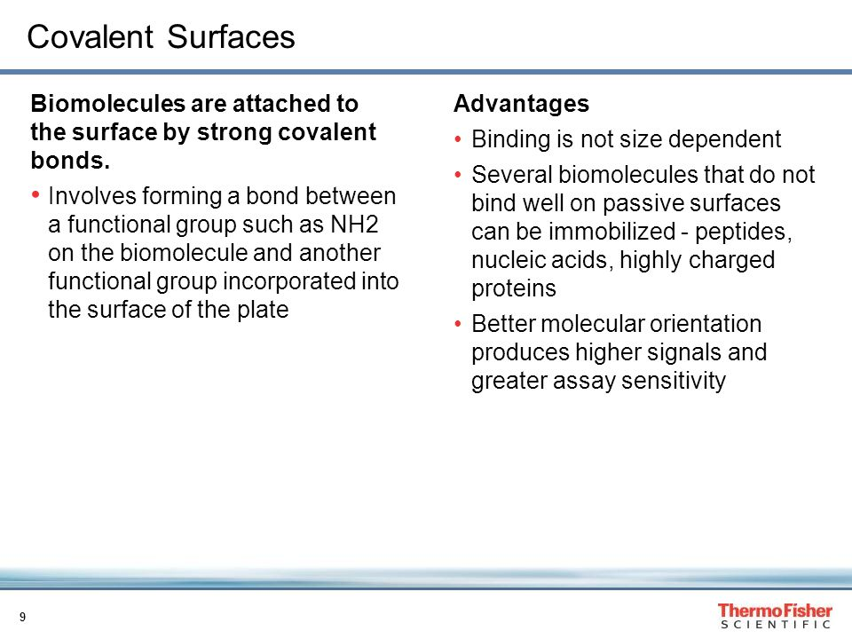 9 Covalent Surfaces Biomolecules are attached to the surface by strong covalent bonds.
