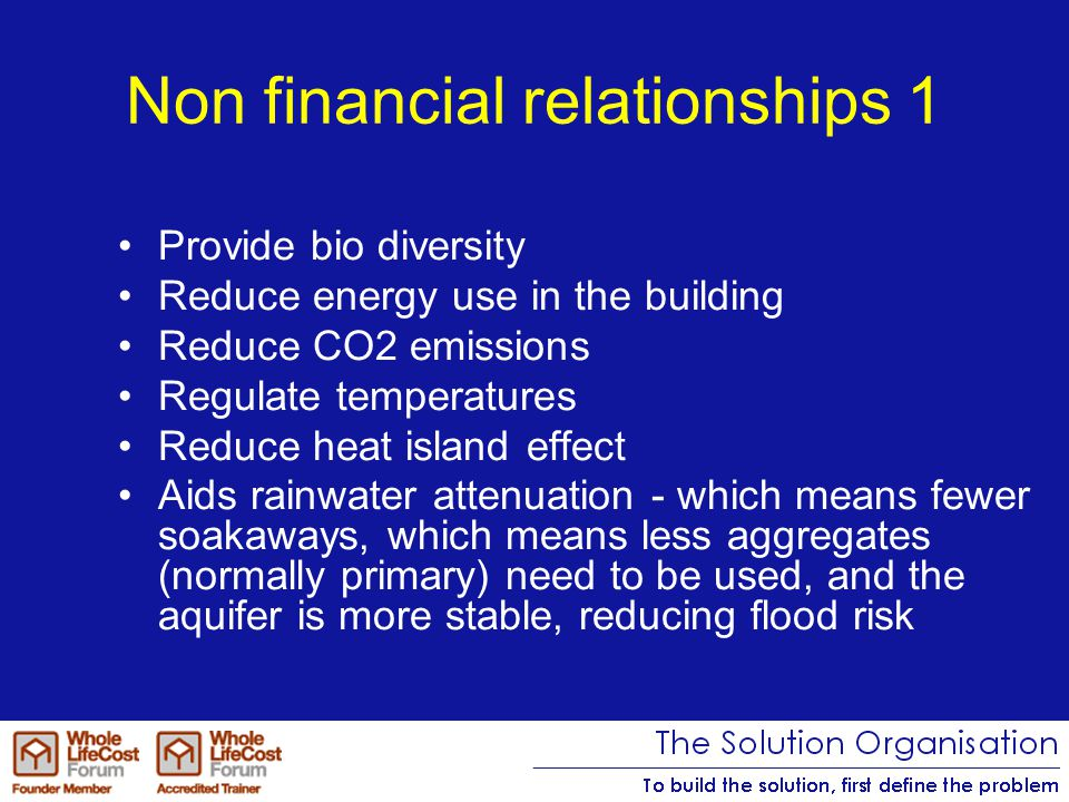 Non financial relationships 1 Provide bio diversity Reduce energy use in the building Reduce CO2 emissions Regulate temperatures Reduce heat island effect Aids rainwater attenuation - which means fewer soakaways, which means less aggregates (normally primary) need to be used, and the aquifer is more stable, reducing flood risk
