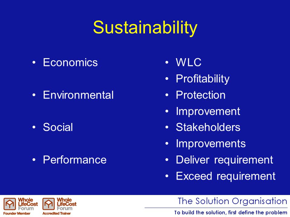 Sustainability Focusing on one or two aspects –Inefficient –Ineffective –Ultimate failure