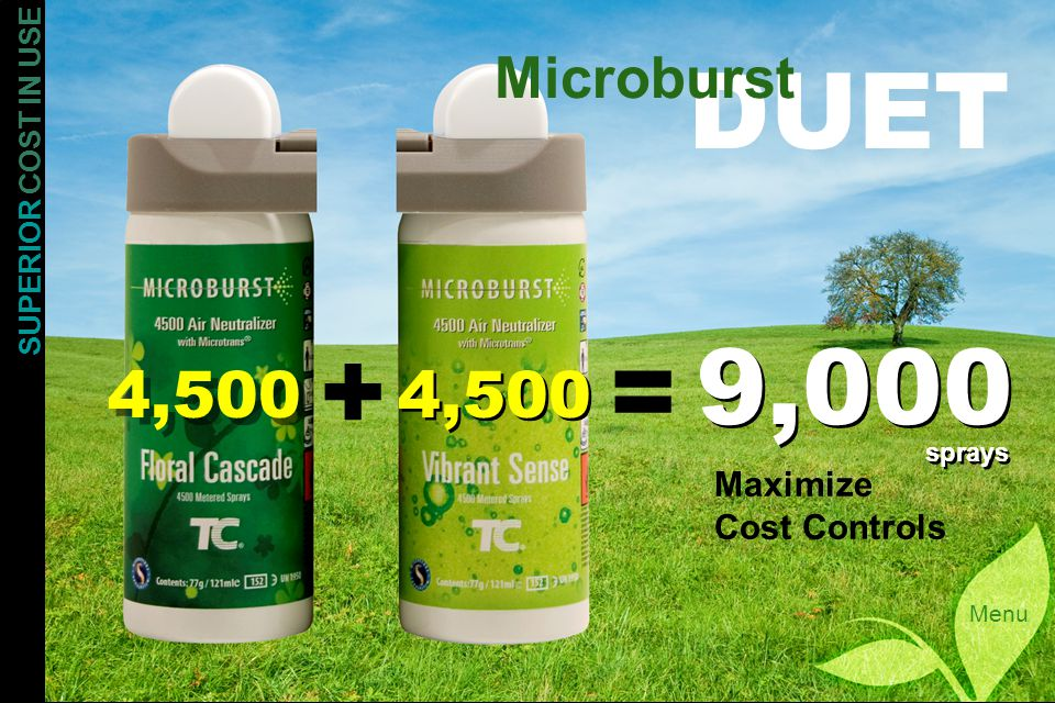 SUPERIOR COST IN USE Menu DUET Microburst += 4,500 9,000 sprays Maximize Cost Controls