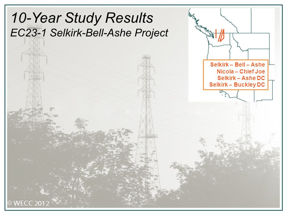 10-Year Study Results EC23-1 Selkirk-Bell-Ashe Project Selkirk – Bell – Ashe Nicola – Chief Joe Selkirk – Ashe DC Selkirk – Buckley DC