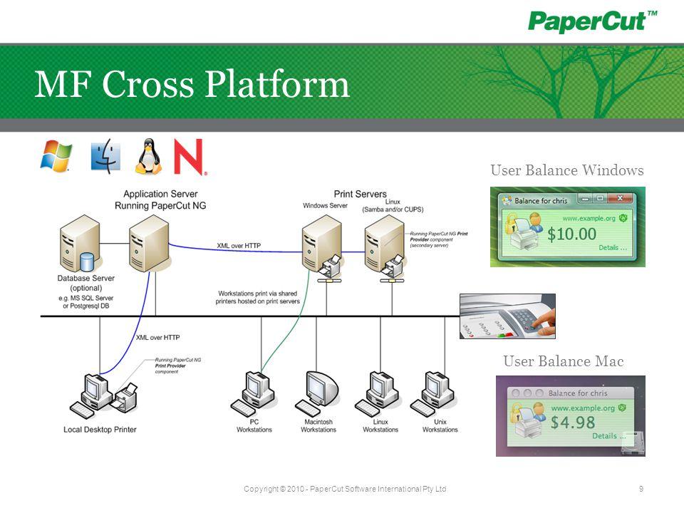 User Balance Windows User Balance Mac Copyright © 2010 - PaperCut Software International Pty Ltd9 MF Cross Platform