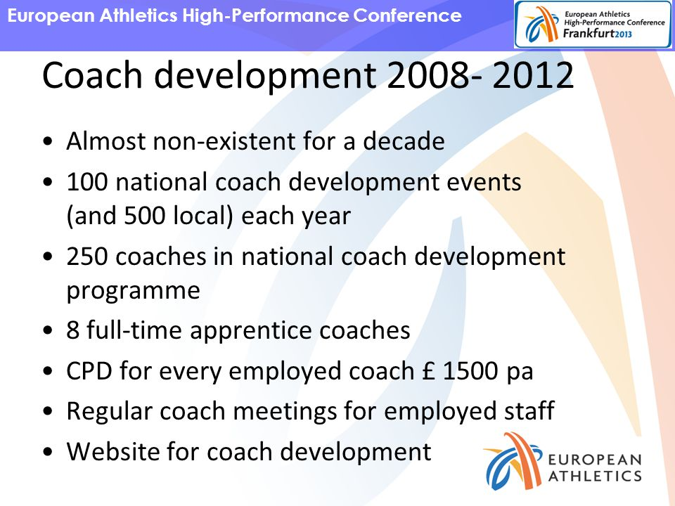 European Athletics High-Performance Conference Coach development 2008- 2012 Almost non-existent for a decade 100 national coach development events (and 500 local) each year 250 coaches in national coach development programme 8 full-time apprentice coaches CPD for every employed coach £ 1500 pa Regular coach meetings for employed staff Website for coach development