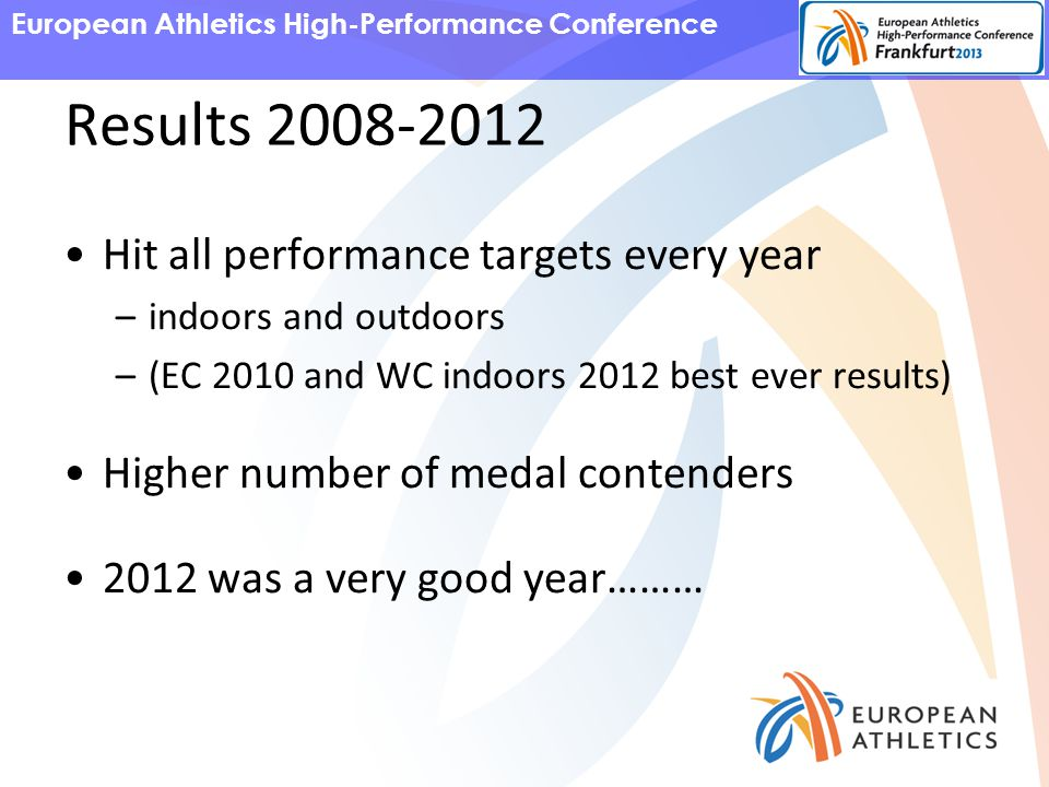 European Athletics High-Performance Conference Results 2008-2012 Hit all performance targets every year –indoors and outdoors –(EC 2010 and WC indoors 2012 best ever results) Higher number of medal contenders 2012 was a very good year………