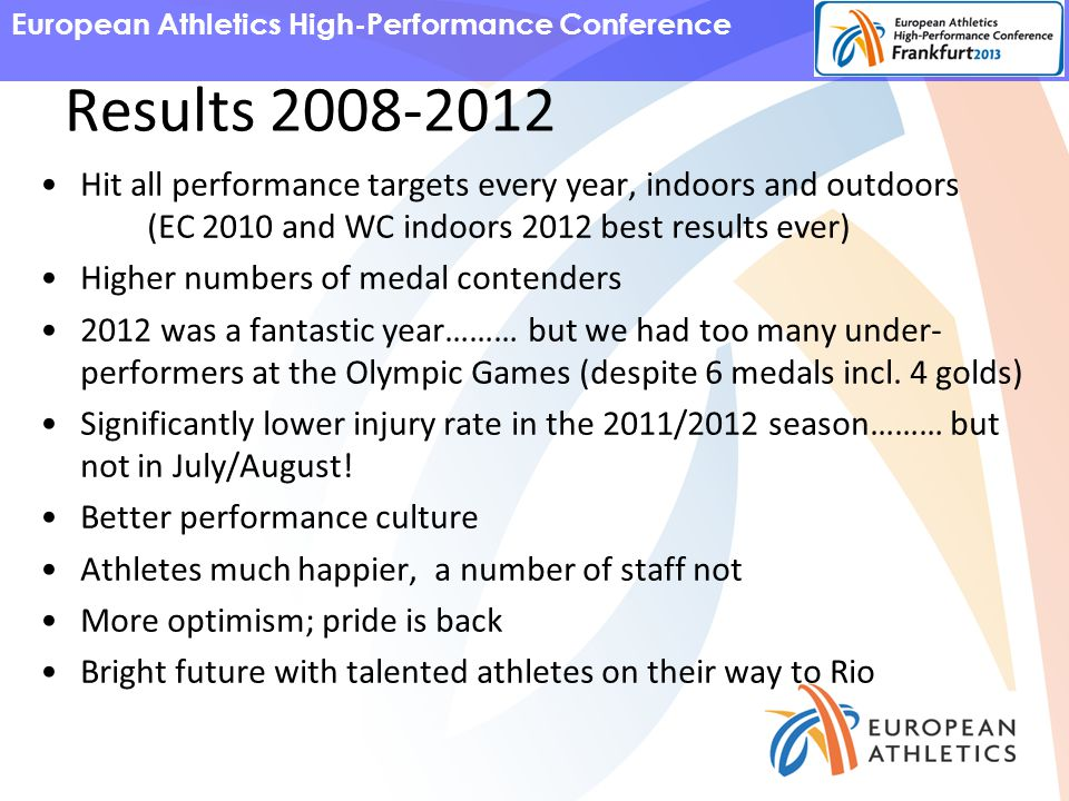 European Athletics High-Performance Conference Results 2008-2012 Hit all performance targets every year, indoors and outdoors (EC 2010 and WC indoors 2012 best results ever) Higher numbers of medal contenders 2012 was a fantastic year……… but we had too many under- performers at the Olympic Games (despite 6 medals incl.