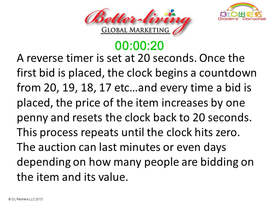 A reverse timer is set at 20 seconds. Once the first bid is placed, the clock begins a countdown from 20, 19, 18, 17 etc…and every time a bid is place