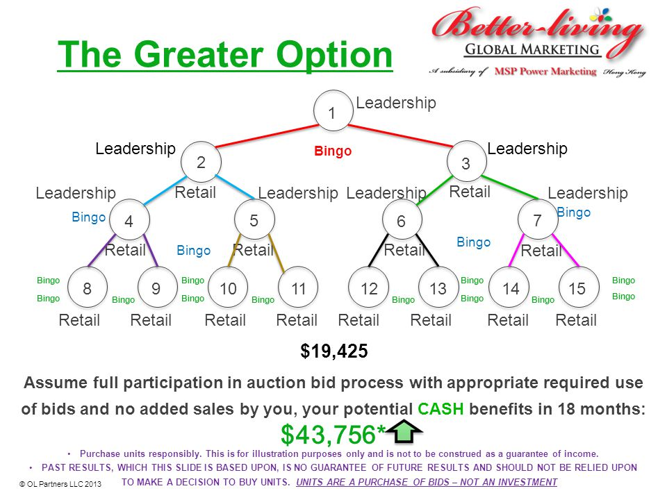 1 2 3 4 5 6 7 The Greater Option Retail Bingo Retail Bingo Leadership $19,425 Assume full participation in auction bid process with appropriate requir