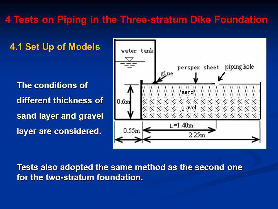 4 Tests on Piping in the Three-stratum Dike Foundation Tests also adopted the same method as the second one for the two-stratum foundation.