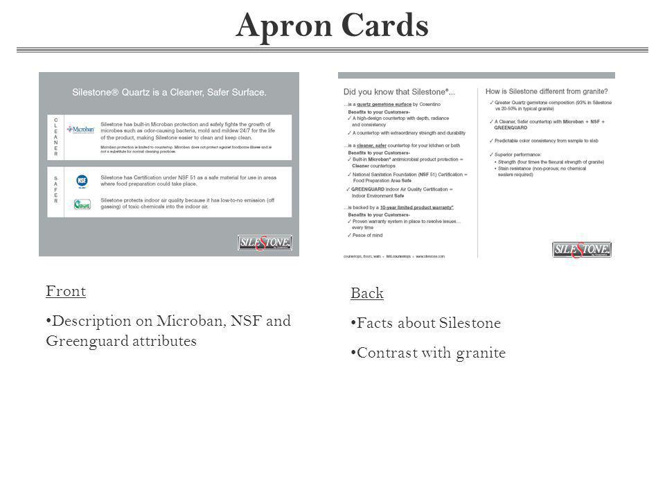 Apron Cards Front Description on Microban, NSF and Greenguard attributes Back Facts about Silestone Contrast with granite