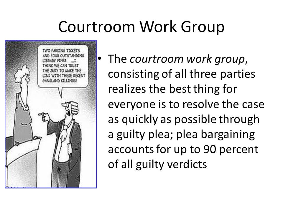 Courtroom Work Group The courtroom work group, consisting of all three parties realizes the best thing for everyone is to resolve the case as quickly