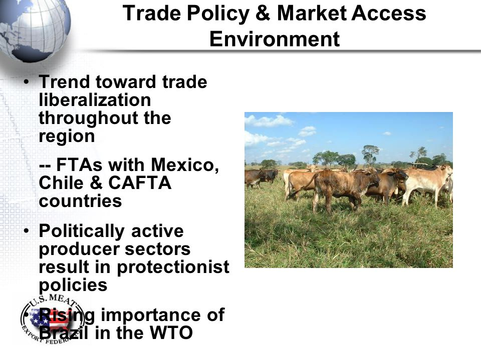 Trade Policy & Market Access Environment Trend toward trade liberalization throughout the region -- FTAs with Mexico, Chile & CAFTA countries Politica