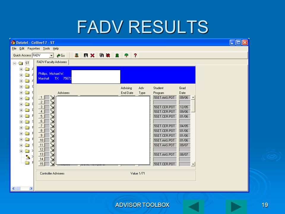 ADVISOR TOOLBOX19 FADV RESULTS