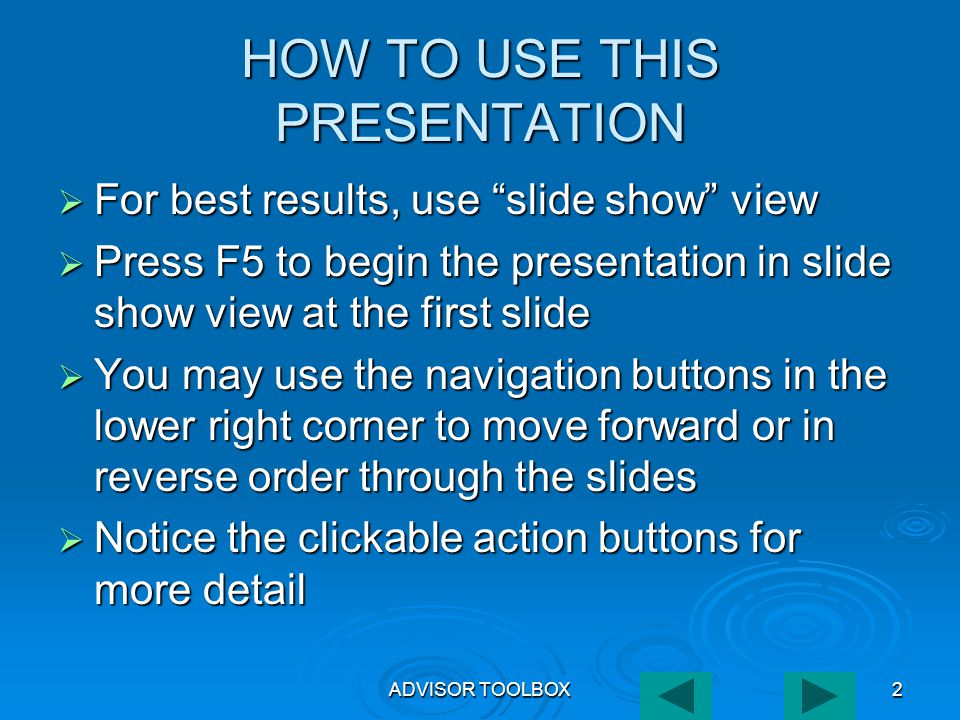 ADVISOR TOOLBOX33 REPORT BROWSER MENU BAR Exit Browser Export to Text File Page Navigation Print to Local Printer