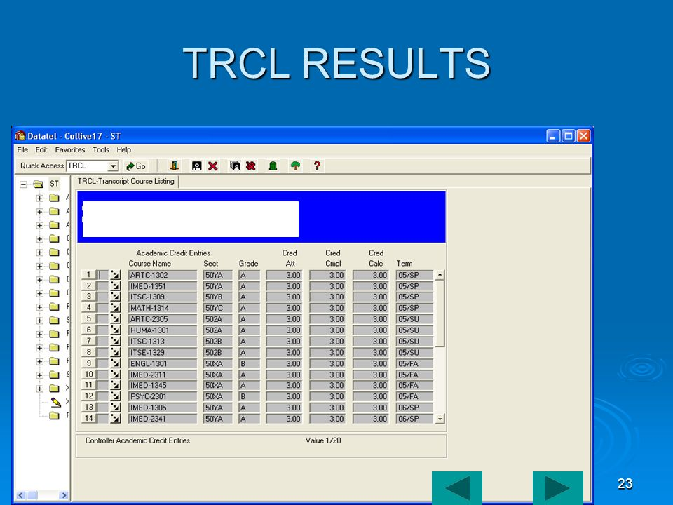 ADVISOR TOOLBOX23 TRCL RESULTS