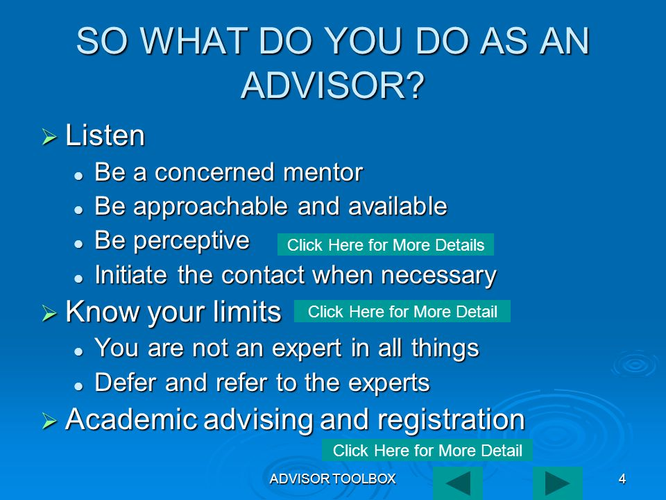 ADVISOR TOOLBOX35 EVAL  When invoking the EVAL report, the advisor has the option of requesting that the TSI Plan for the advisee be printed.
