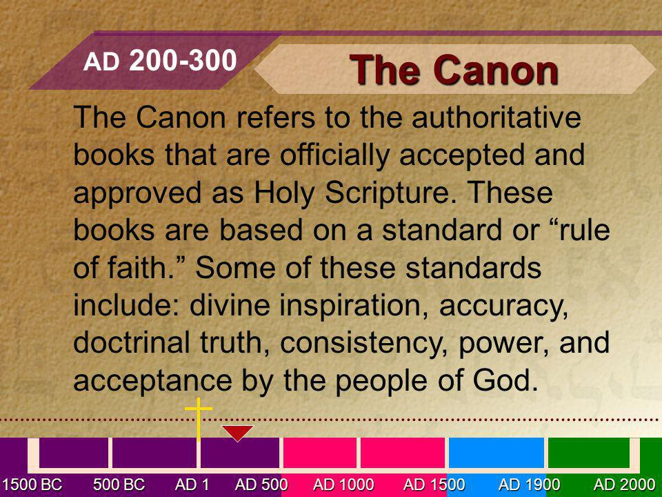 The Canon refers to the authoritative books that are officially accepted and approved as Holy Scripture.
