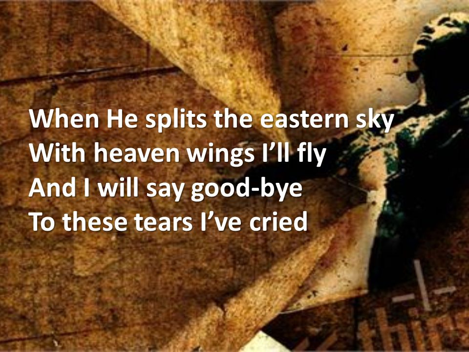 When He splits the eastern sky With heaven wings I'll fly And I will say good-bye To these tears I've cried